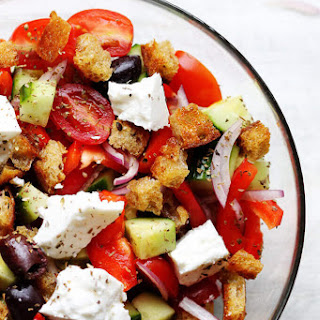 Greek Panzanella Salad with Garlic Vinaigrette Recipe