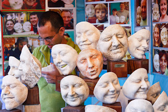 Photo: Here's one that's a little different from me today... a street vendor who was set up on London's Southbank, making plaster moulds of people's faces.  Something that I hadn't anticipated when I uploaded this was that Google+ detected no less than eighteen faces that it wanted me to tag! :-)