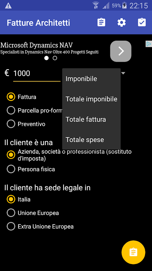 Fatture architetti android apps on google play - Parcella architetto ...
