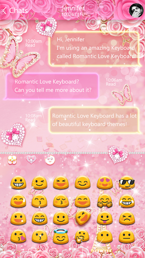 Pink Butterflies Keyboard Theme - screenshot