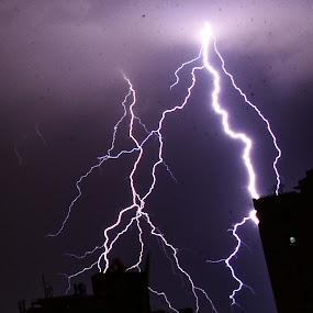 lightning crashes by Shivaang Sharma - Novices Only Landscapes ( building, lightning, sky, cloud, landscape )