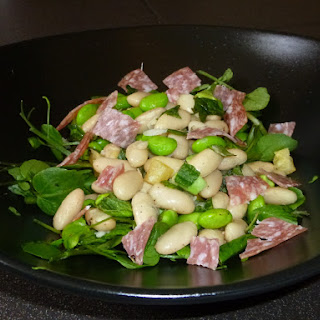 Soya and Flageolet Bean Salad with Salami and Mint