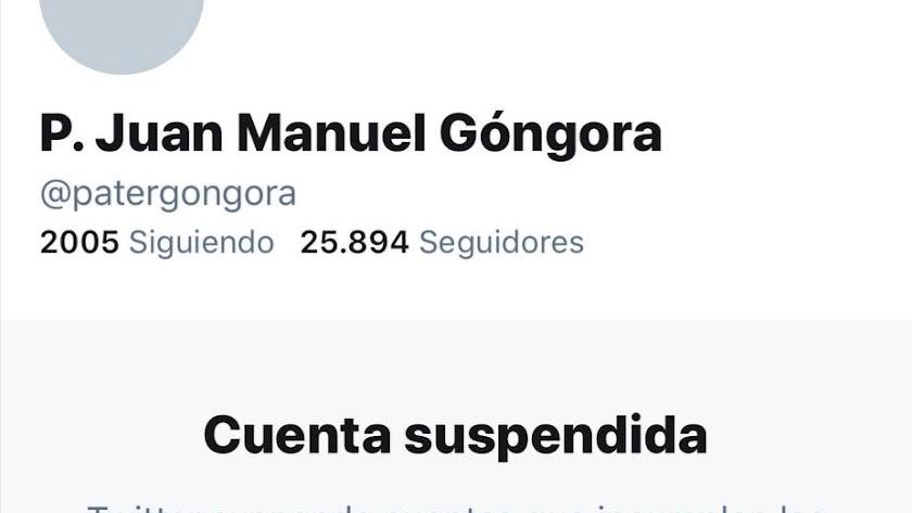 La cuenta del cura más popular de Almería en Twitter, suspendida.