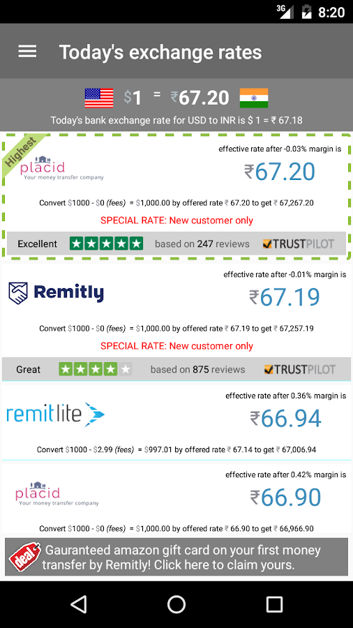 RemitRate: Compare remittance- screenshot