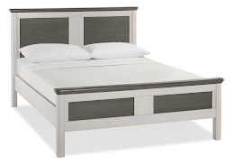 Unique Contemporary Soft Grey and Weathered Oak Bedstead