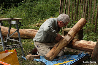 Photo: Stuart working on a new notice board for Ashenground Wood