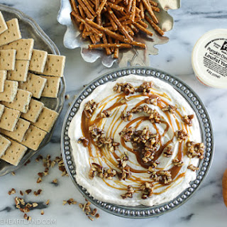 Pumpkin Cheesecake Dip with Caramel and Pecans.
