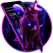 Neon Purple Wolf Theme Android APK Download Free By Fancy Theme Palace