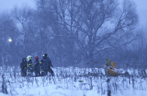 Emergency services work at the scene where an Antonov AN-148 plane crashed after taking off from Moscow's Domodedovo airport, outside Moscow. Picture: REUTERS