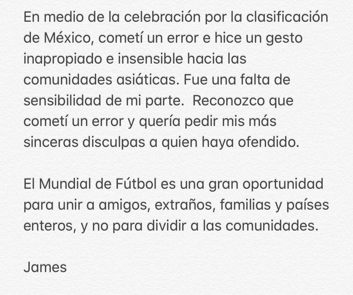 James apology