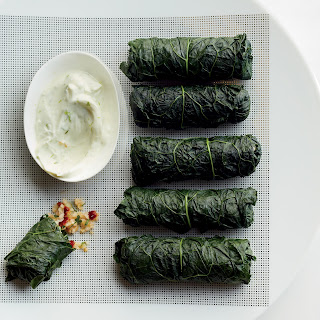 Stuffed Kale with Bulgur Tabbouleh and Lime Yogurt Dip.