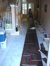 "Photo: starting hand scrapped 5"" random planks installation at a hall 27' long nice and straight."