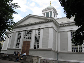 Photo: IN FRONT OF THE OLDEST CHURCH IN HELSINKI       http://www.virtualhelsinki.net/helsinkipanoraama/historia/eng/vanhakirkko.html