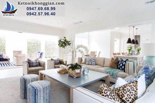 thiết kế phòng khách với tông màu hợp lý