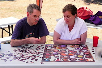 Photo: Puzzlers at work