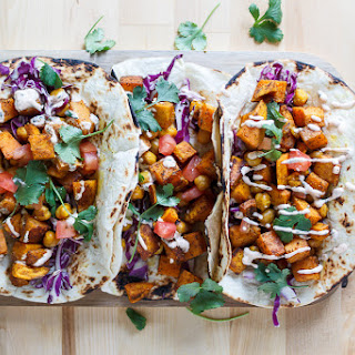 Moroccan Sweet Potato and Chickpea Tacos.