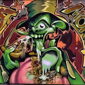 PizzaMonster Graffiti by Ciddi Biri - Street Art All Street Art ( food, graffiti, advrtising, pizzamonster, wall )
