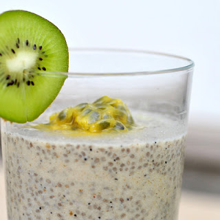 Chia Seeds Pudding With Kiwi and Passionfruit.