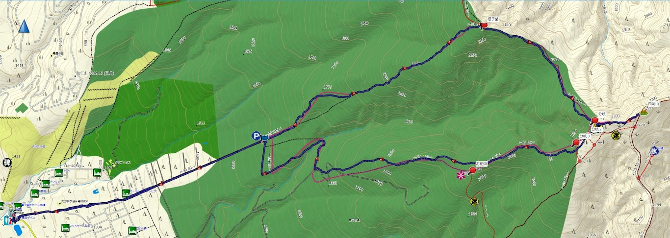 四阿山 登山コース地図