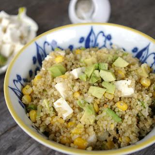Quinoa Salad with Corn, Avocado and Scallions