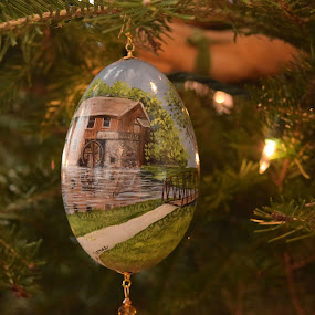 The Christmas Egg - Painted by John Tuttle - Artistic Objects Other Objects ( christmas lights, ornament, paint, bridge, egg, evergreen,  )