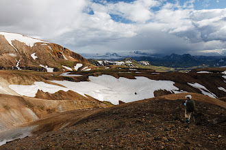 Photo: Leaving the rhyolite mountains with views of Mýrdalsjökull.