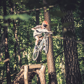 Gappin' by Dennis Nieling - Sports & Fitness Cycling ( bike, wood, mtb, trees, helmet, leaves, woods, jump )