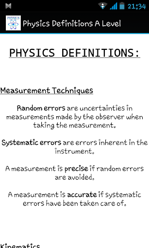 Physics Definitions A Level
