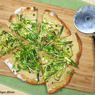 Chickpea Pizza with Asparagus and Pea Shoot Tangle from Chickpea Flour Does It All
