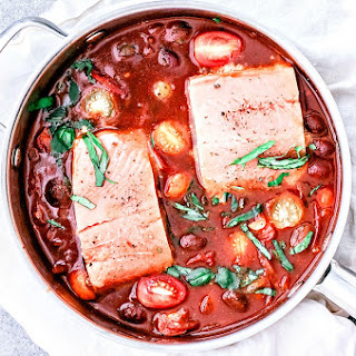 Easy Poached Salmon Fillets in Tomato Wine Sauce.