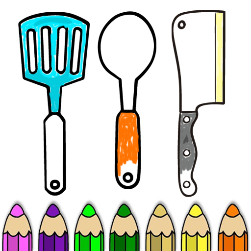 Kitchen Cooking Coloring Pages -Kids Coloring Book Icon