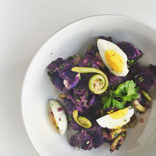Purple Potato Salad With Fiddlehead Ferns