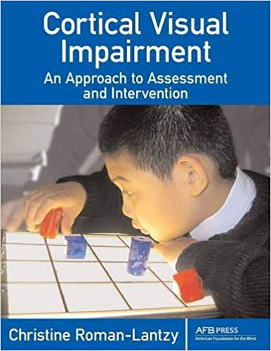 cover of book titled Cortical Visual Impairment by Christine Roman showing a student viewing colored clear pegs on a light box