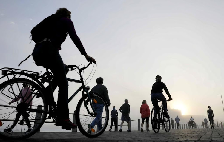Sea Point promenade in Cape Town was opened to joggers, walkers and cyclists, and they came out in numbers early on May 1 2020.