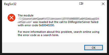"[Solved] How to Fix RegSvr32 Error ""DllUnregisterServer failed with error code 0x80040200"""