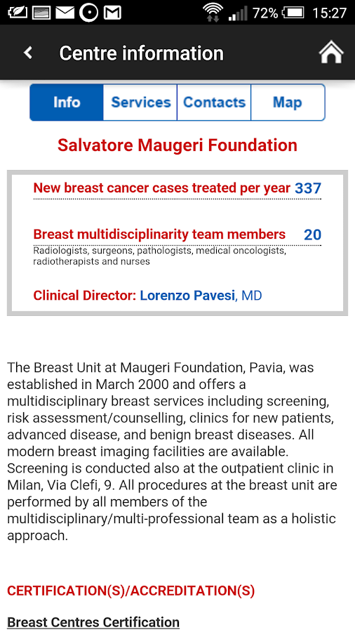 Breast Centres Network- screenshot