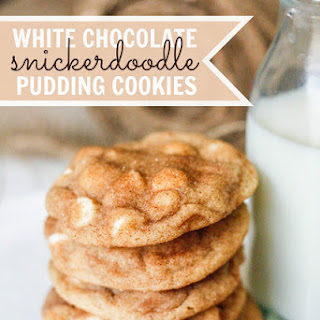 White Chocolate Snickerdoodle Pudding Cookies.