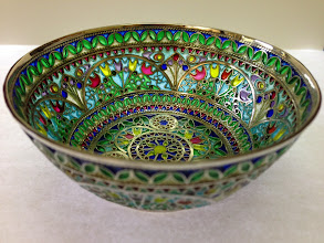 Photo: Plique-à-Jour Enamels by Diane Echnoz Almeyda - Tulips Bowl #017 11/98 - Fine Silver, Plique-à-Jour Enamels - Approximate size 37mm (h) x 88mm (diam) - $5300.00 US