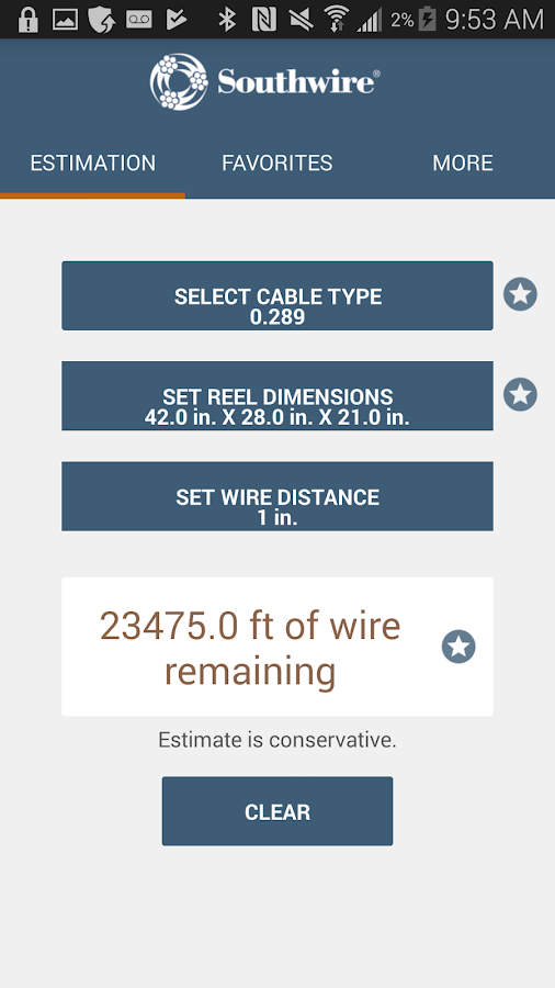 Southwire Partial Reel Calc- screenshot