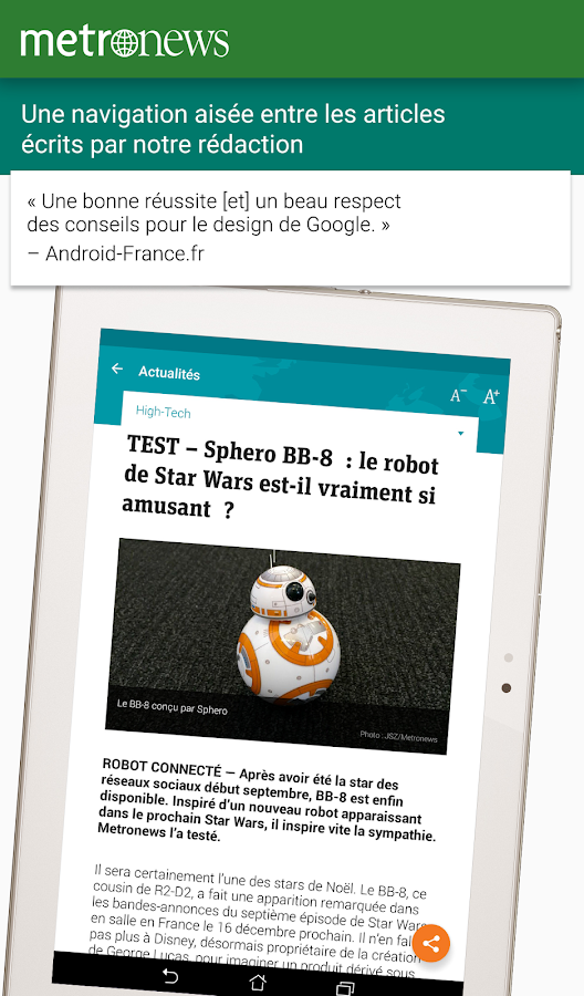 Metronews pour tablette- screenshot