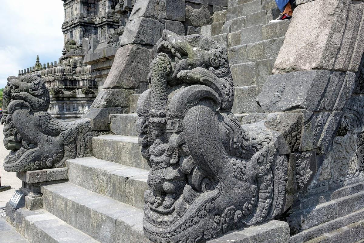 Indonesia. Yogyarkarta Pramantan Temple. Stair corner statues