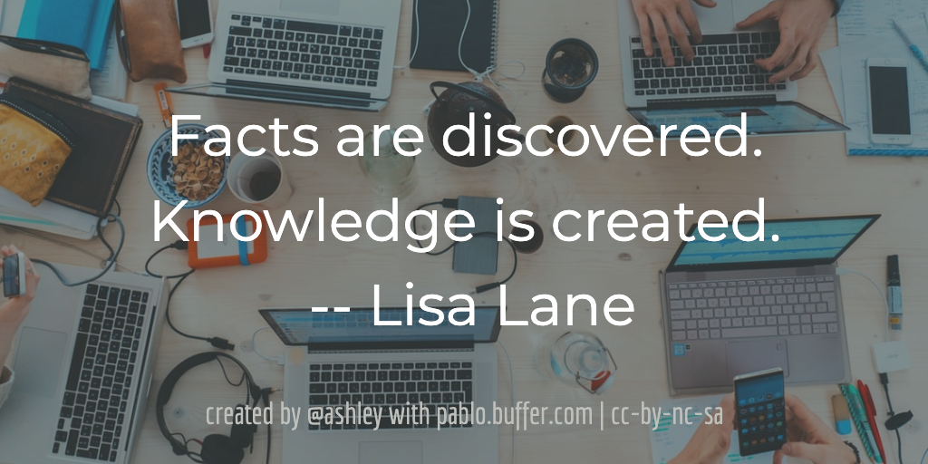 Facts are discovered. Knowledge is created. -- Lisa Lane