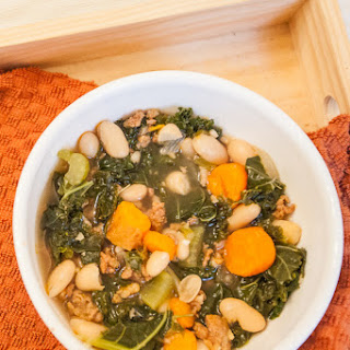 Autumn Kale, White Bean and Chorizo Soup