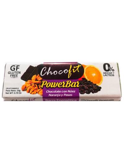 chocolate chocofit nuez-naranja-pasas sin gluten 20g