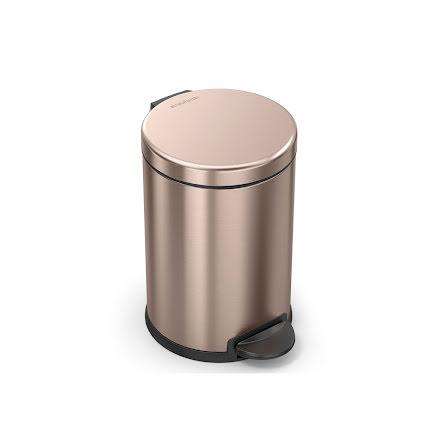 Klassisk rund pedaltunna på 4,5 liter, rosenguld  stål