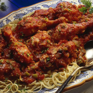 Easy Chicken Cacciatore Recipe with Stewed Tomatoes.