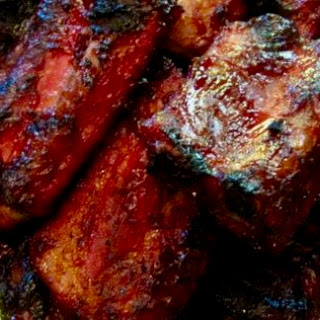 Smoked BBQ ribs.