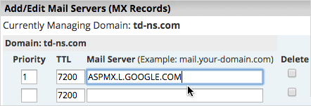 MX Mail Server field