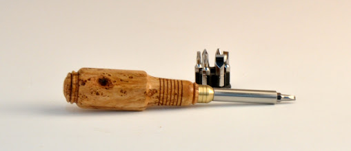 "Photo: Michael Blake - Hex Handle Screwdriver Set - 6"" overall, 2 1/2"" blade - Cherry Burl"