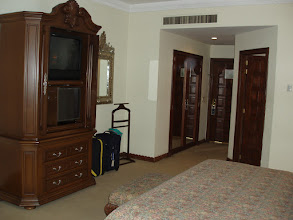 Photo: Our room had gorgeous woodwork, all marble bathroom, a king size bed, good air conditioning, and a balcony.